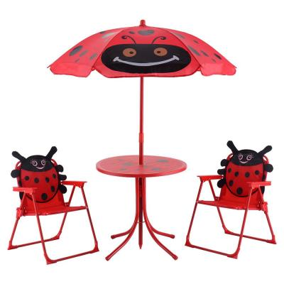 Kids Folding Picnic Set Steel Outdoor Dining Table Set with Cute Beetle Folding Table, Chair and Umbrella