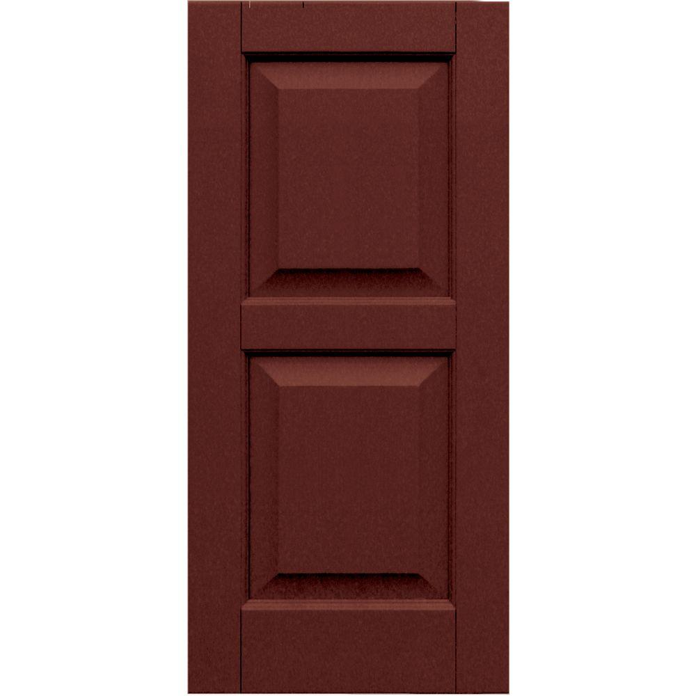 Winworks Wood Composite 15 in. x 32 in. Raised Panel Shutters Pair #650 Board and Batten Red