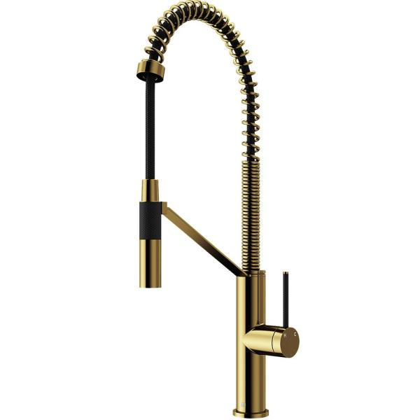 Livingston Single-Handle Pull-Down Sprayer Kitchen Faucet in Matte Gold