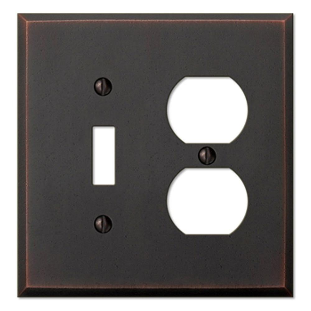Manhattan 1 Toggle and 1 Duplex Wall Plate - Aged Bronze