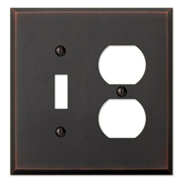 Manhattan 2 Gang 1-Toggle and 1-Duplex Metal Wall Plate - Aged Bronze