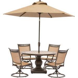 Hanover Fontana 5-Piece Aluminum Round Outdoor Dining Set with Swivels, Tile-Top Pedestal Table and Umbrella by Hanover