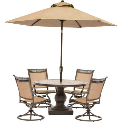 Fontana 5-Piece Aluminum Round Outdoor Dining Set with Swivels, Tile-Top Pedestal Table and Umbrella