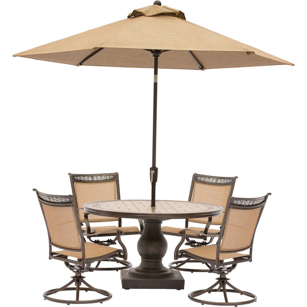 Fontana 5 Piece Aluminum Round Outdoor Dining Set With Swivels Tile Top Pedestal