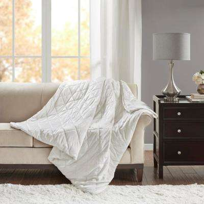 Luxury Ivory Quilted Mink 60 in. x 70 in. 12 lbs. Weighted Blanket