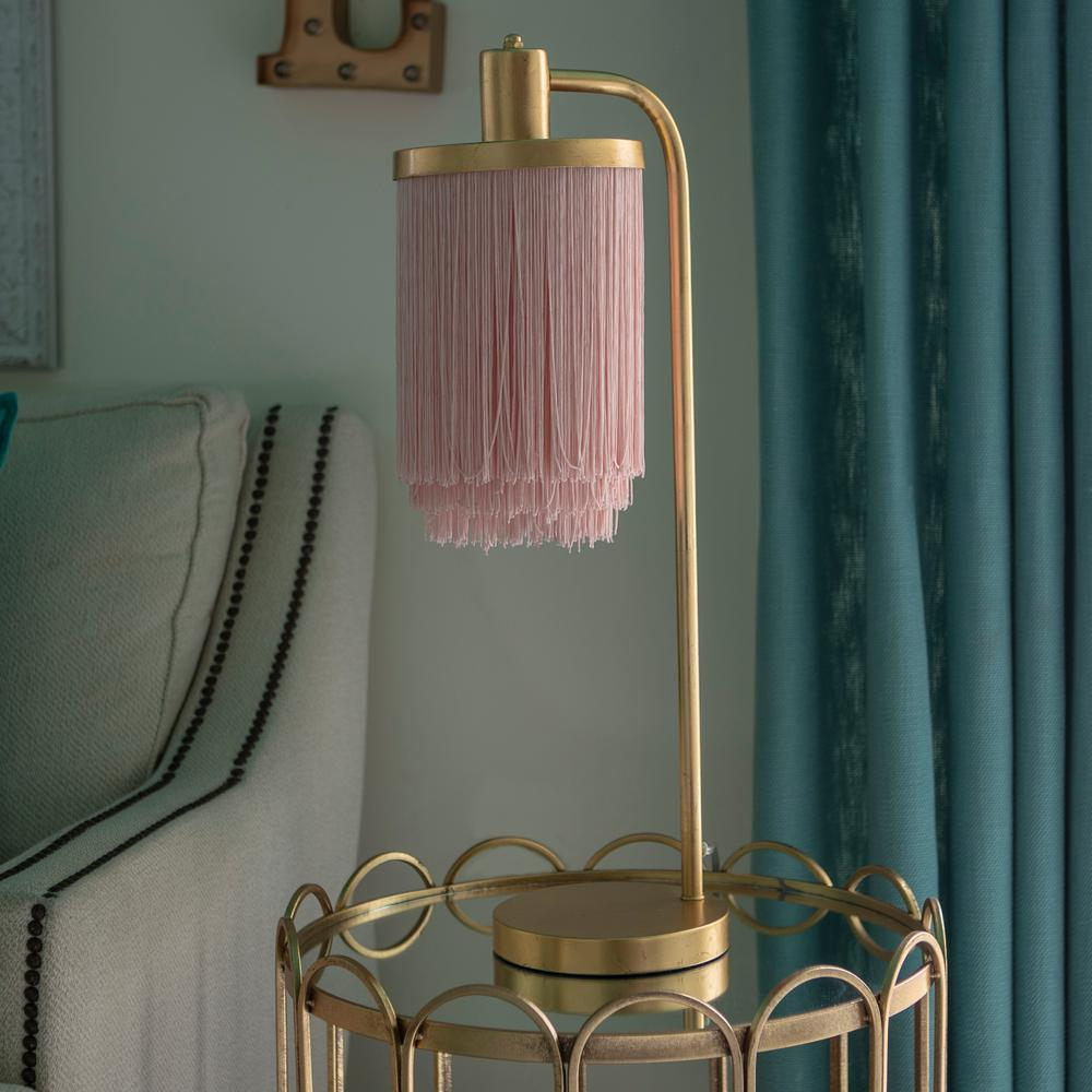 Decor Therapy Framboise 26 5 Gold Table Lamp With Fringe