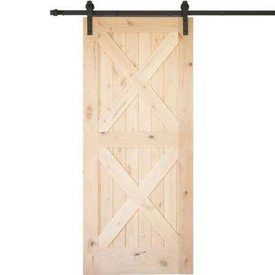 36 in. x 84 in. Krosswood Knotty Alder 2 Panel Double x Solid Wood Interior Barn Door Slab