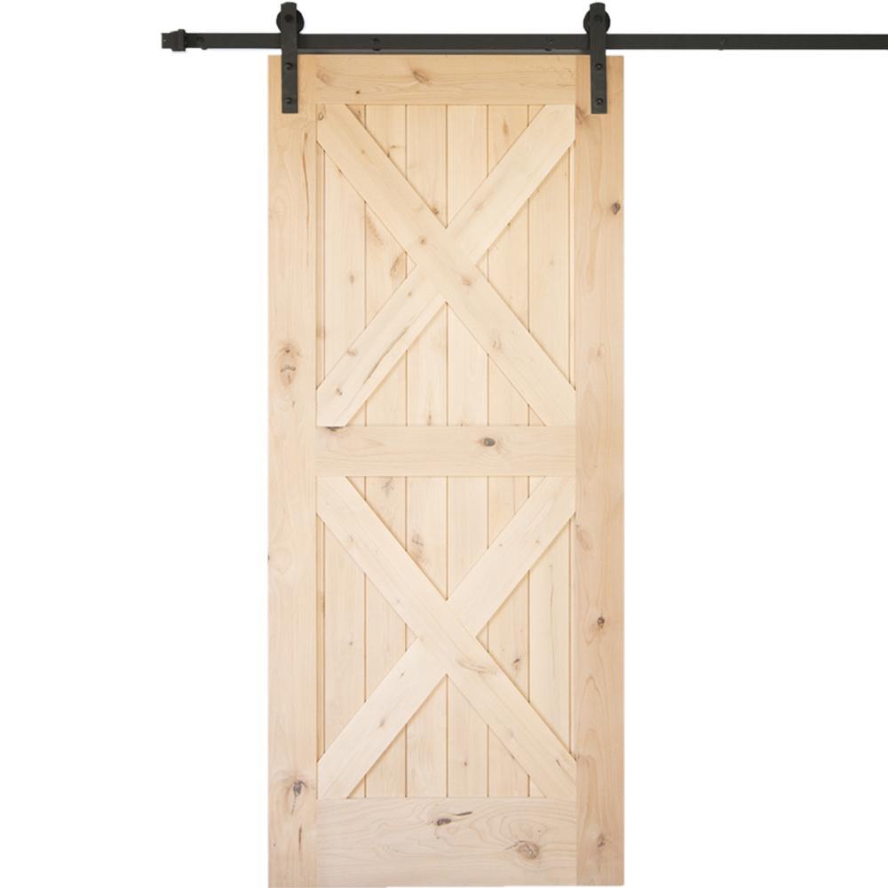 36 in. x 84 in. Krosswood Knotty Alder 2 Panel Double x Solid Wood Interior Barn Door Slab