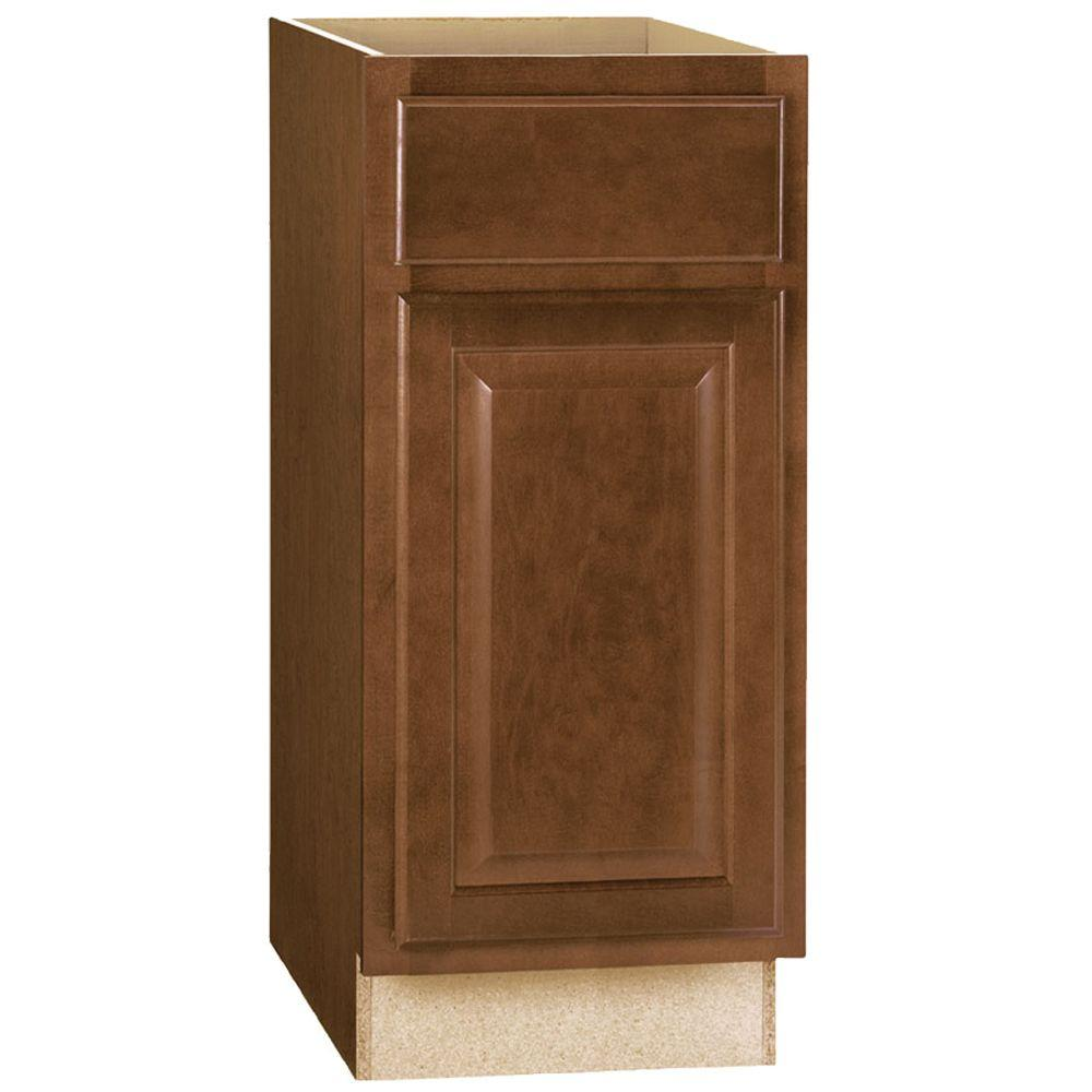 Hampton Bay Hampton Assembled 15x34.5x24 in. Base Kitchen Cabinet with Ball-Bearing Drawer Glides in Cognac
