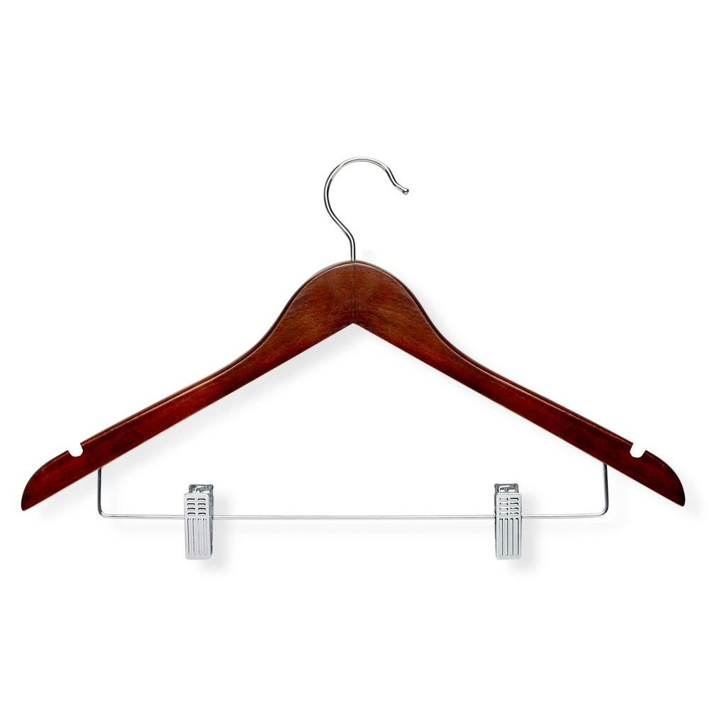 Cherry Finish Basic Suit Hanger with Clips (9-Pack)