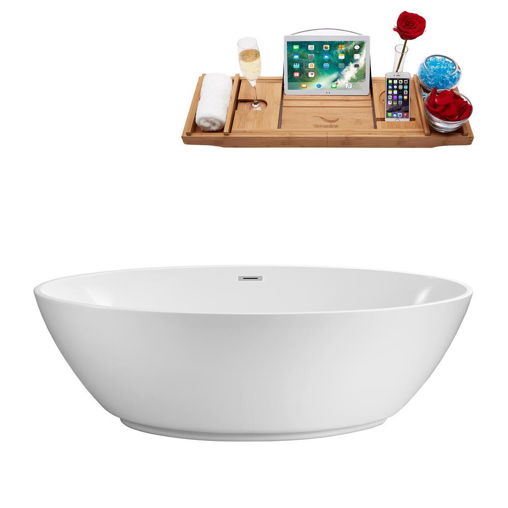 62.6 in. Acrylic Flatbottom Non-Whirlpool Bathtub in Glossy White