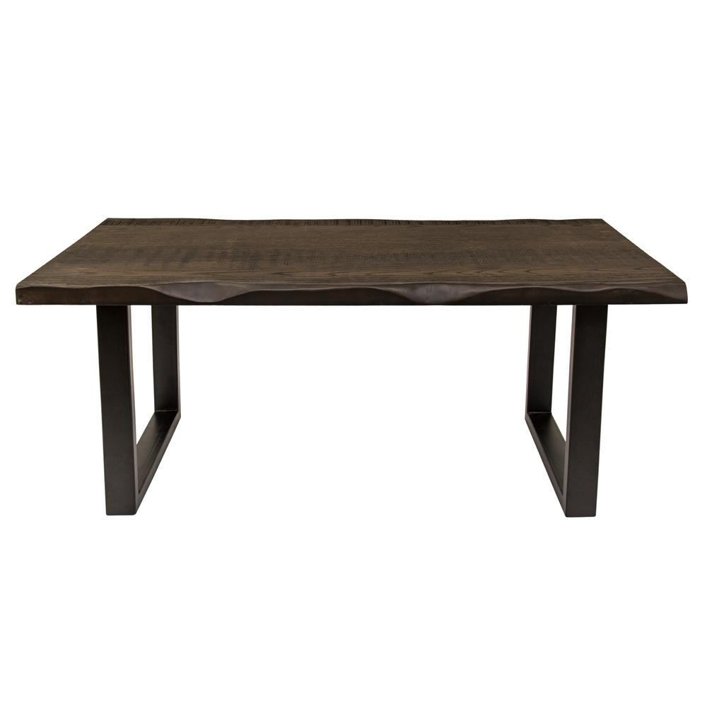 Yosemite Home Decor Regent Faux Live Edge Dark Brown Coffee Table
