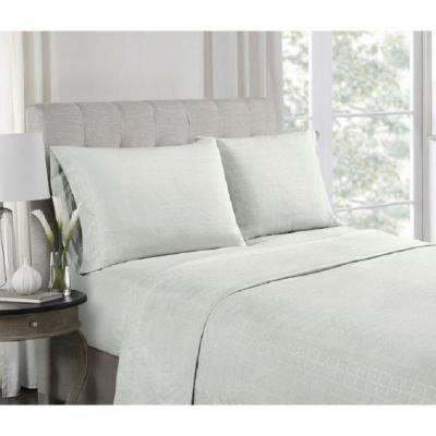 4-Piece Grey Embossed Microfiber Full Sheet Set