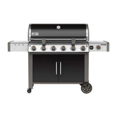 Genesis II LX E-640 6-Burner Natural Gas Grill in Black with Built-In Thermometer and Grill Light