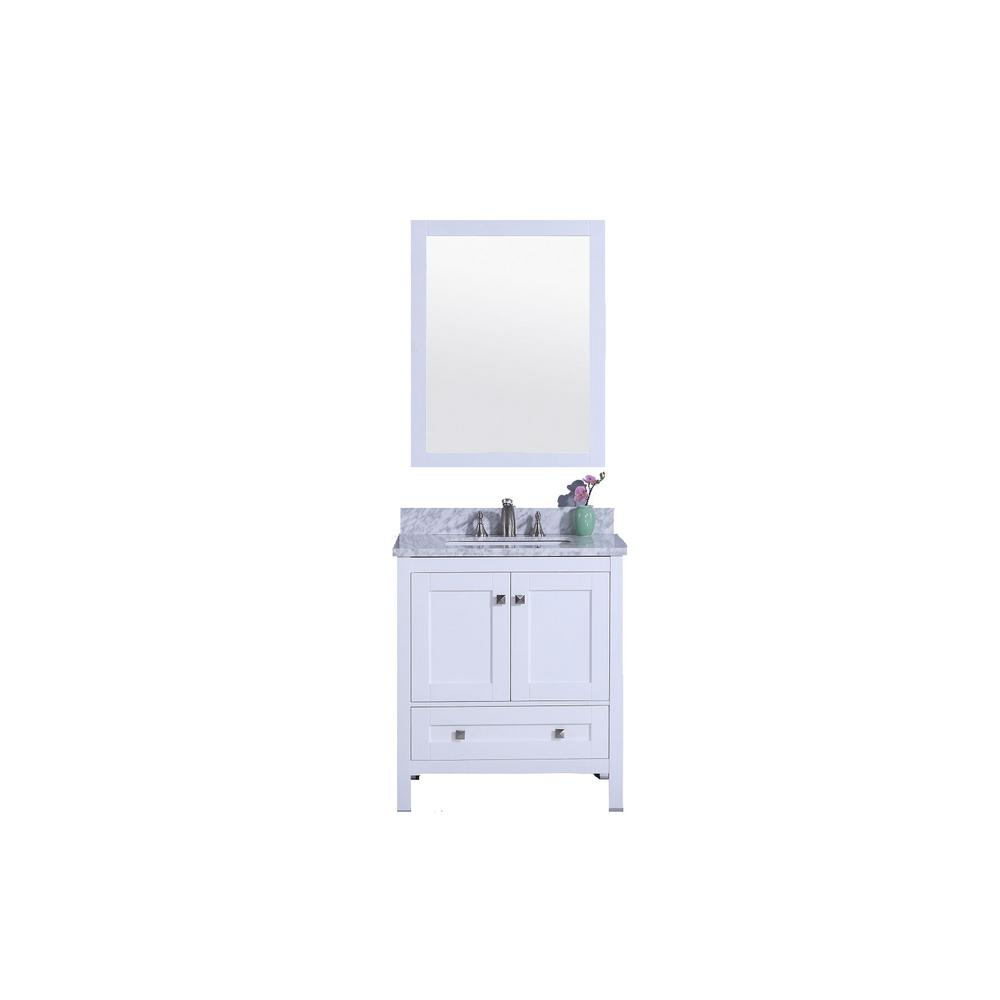 31 in. W x 22 in. D Vanity in White with Marble Vanity Top in White and Gray with White Basin and Mirror