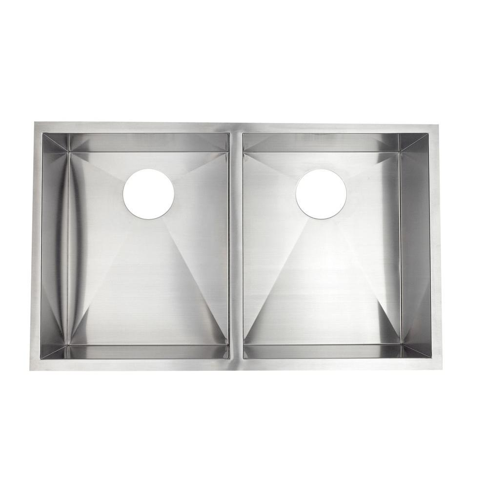Astracast Undermount Stainless Steel 33x20x10 0-Hole Double Bowl Kitchen Sink