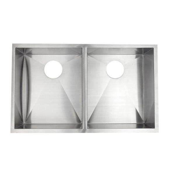 Undermount Stainless Steel 33.in 0-Hole Double Bowl Kitchen Sink