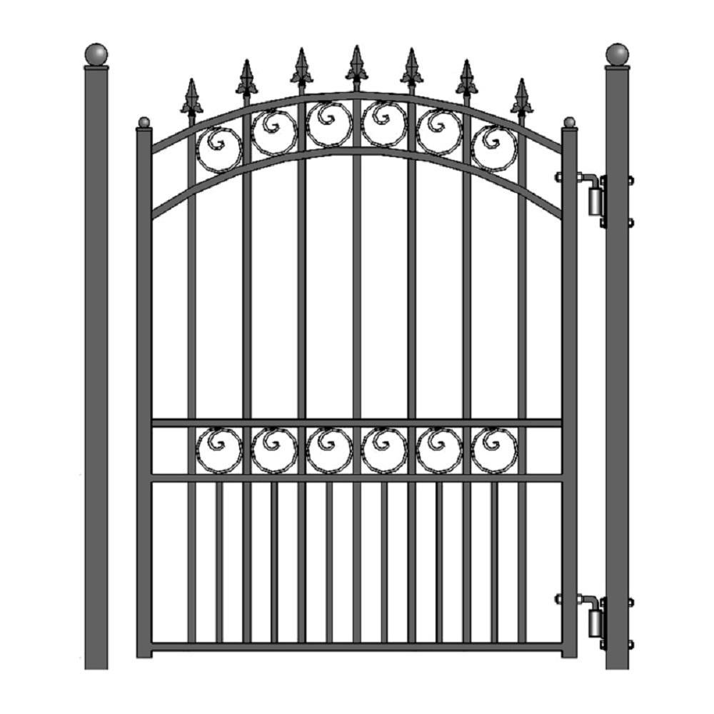 London Style 4 ft. x 5 ft. Black Steel Pedestrian Fence Gate