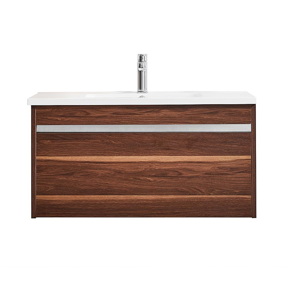 ROSWELL Thomas 36 in. W x 18 in. D Bath Vanity in Walnut with Quartz Vanity Top in White with White Basin