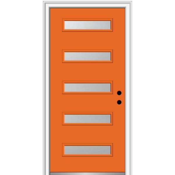 32 in. x 80 in. Davina Left-Hand Inswing 5-Lite Frosted Glass Painted Steel Prehung Front Door on 6-9/16 in. Frame
