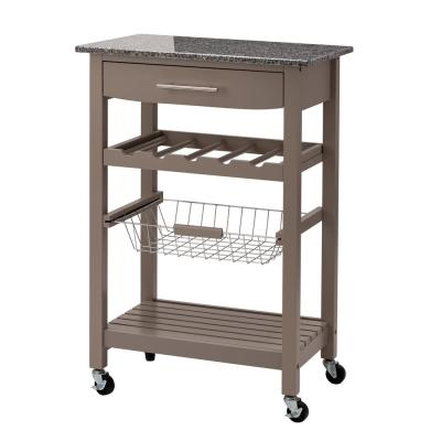 33.90 in. H Warm Gray with Marble Top Rolling Kitchen Island