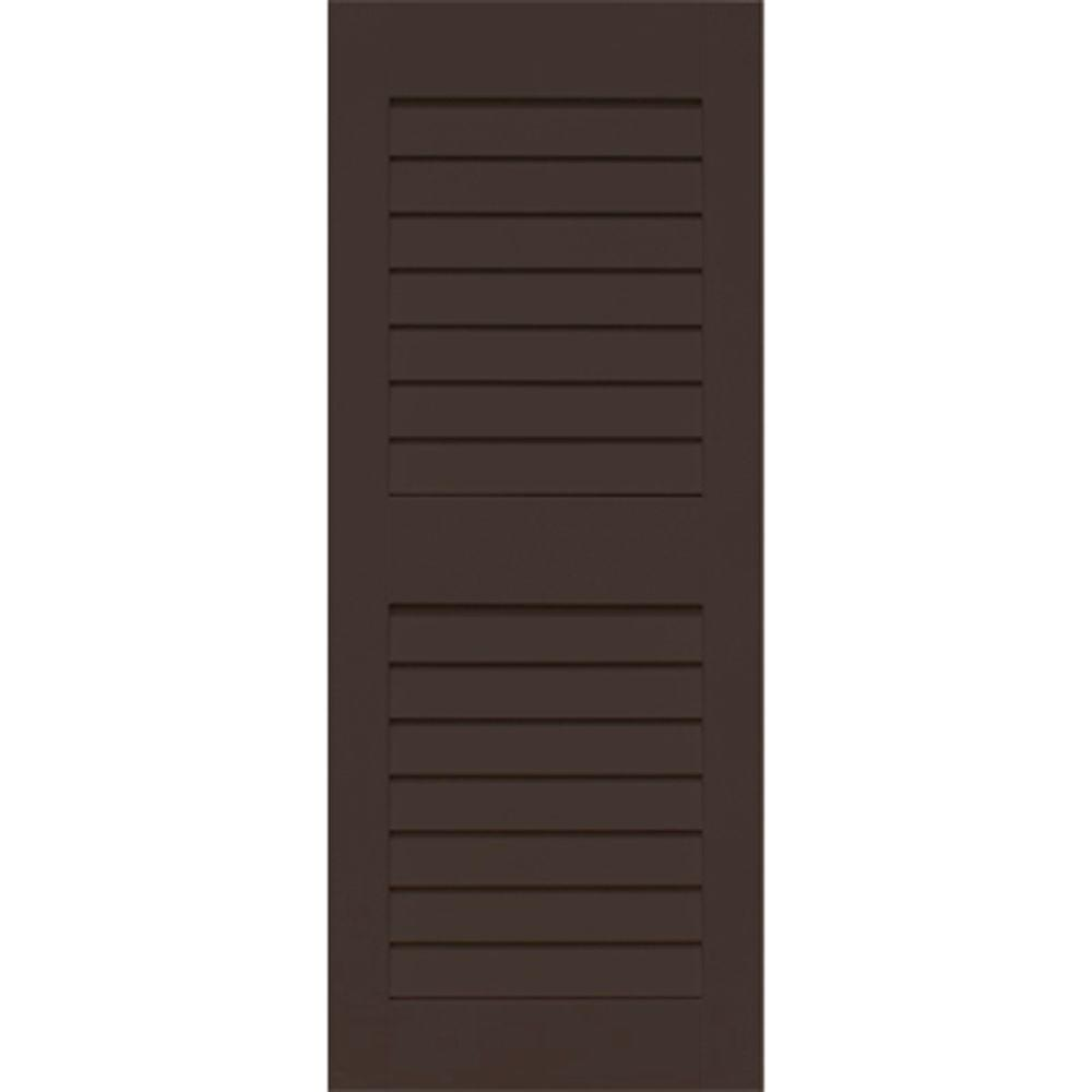Home Fashion Technologies Plantation 14 in. x 65 in. Solid Wood Louvered Exterior Shutters Behr Bitter Chocolate-DISCONTINUED