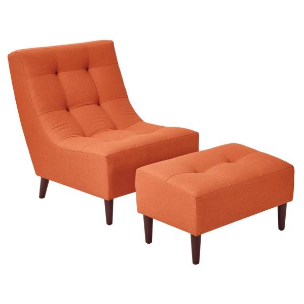 OSP Home Furnishings Hudson Tangerine Fabric Chair with Ottoman and Espresso Legs