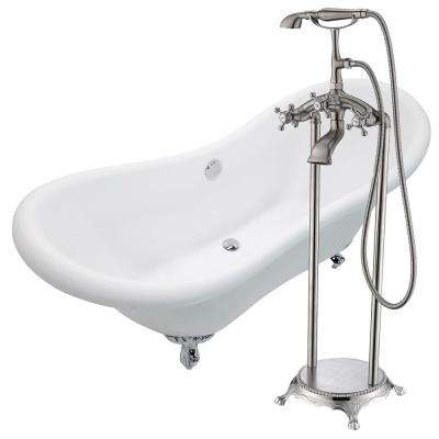 Aegis 68.75 in. Acrylic Clawfoot Non-Whirlpool Bathtub in White with Tugela Faucet with Hand Shower