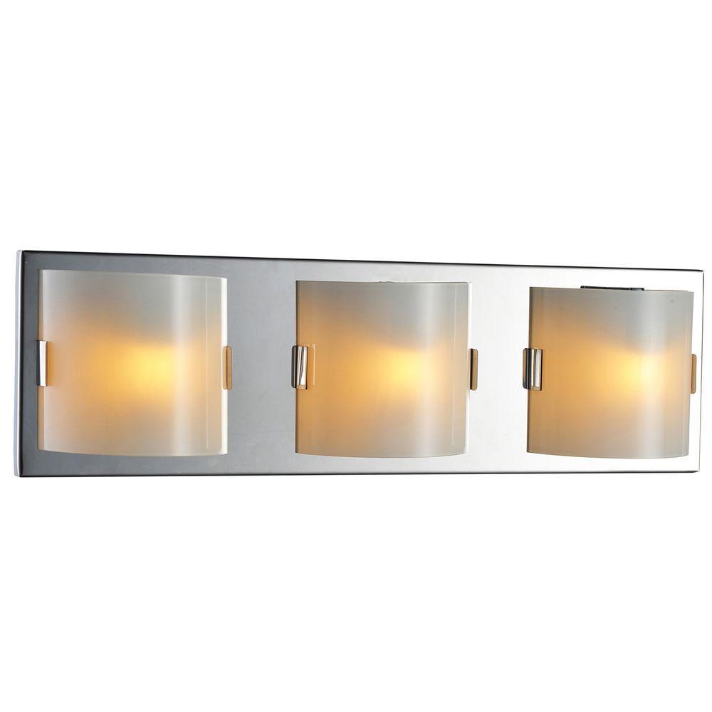 Luna Collection 3-Light Chrome Wall Vanity Light