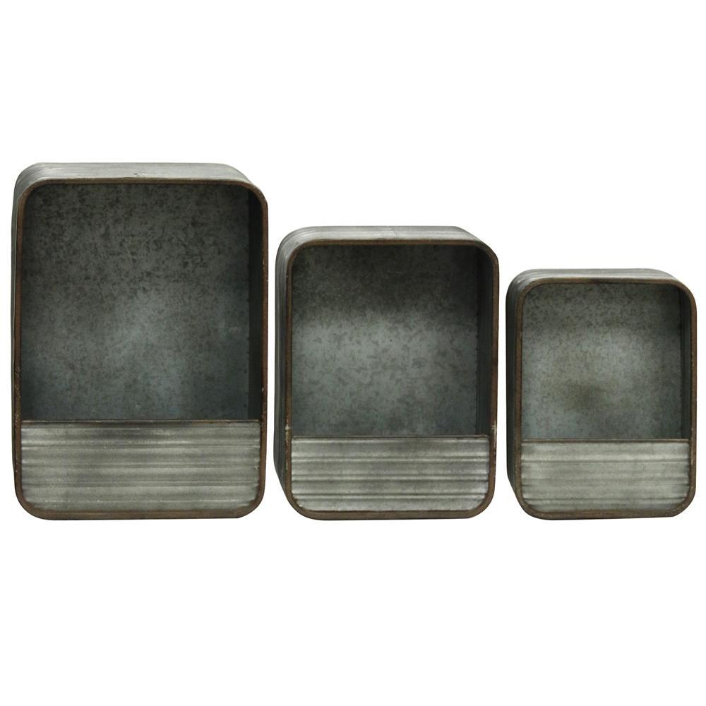 Gray Rectangular Decorative Metal Wall Storage (Set of 3)