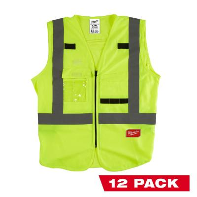 Large/X-Large Yellow Class 2 High Visibility Safety Vest with 10 Pockets (12-Pack)