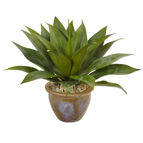 Nearly Natural Indoor Agave Artificial Plant in Glazed Clay Pot