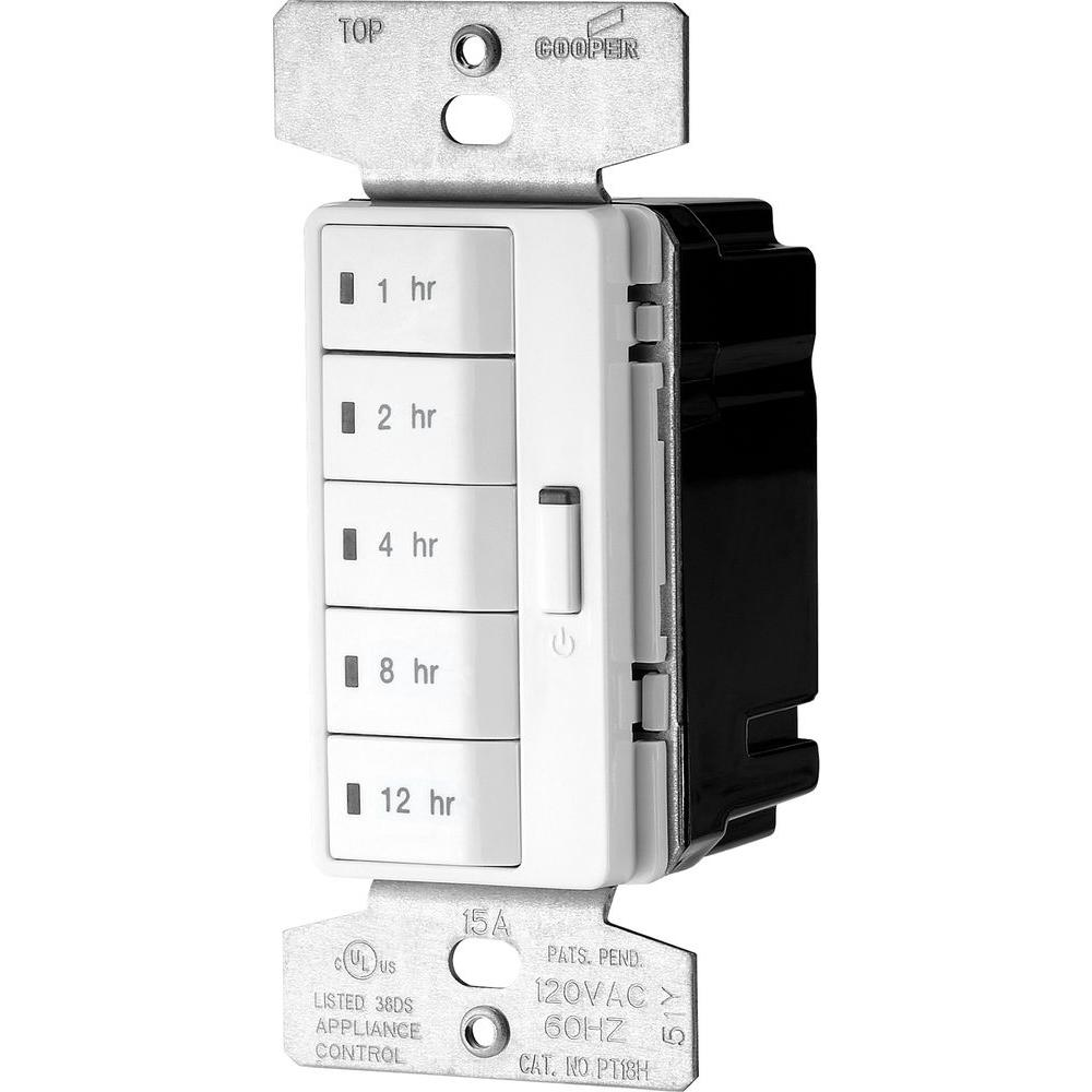 Cooper Wiring Devices 10piece 15amp White Single Pole Light Switch Diagram Eaton Accell 1800 Watt 5 Button Hour Timer Lighting