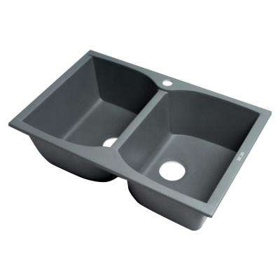 Drop-In Granite Composite 31.13 in. 1-Hole 50/50 Double Bowl Kitchen Sink in Titanium