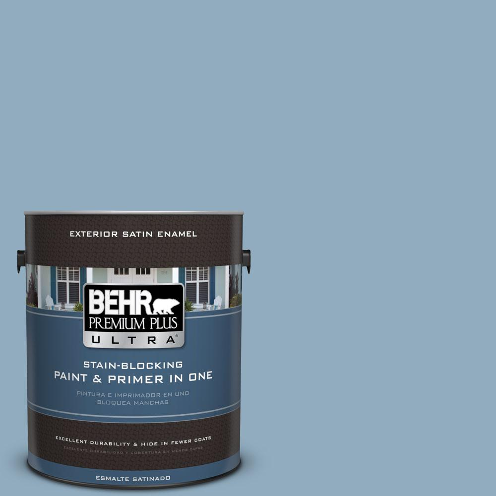 BEHR Premium Plus Ultra 1-gal. #BIC-10 Cotton Denim Satin Enamel Exterior Paint
