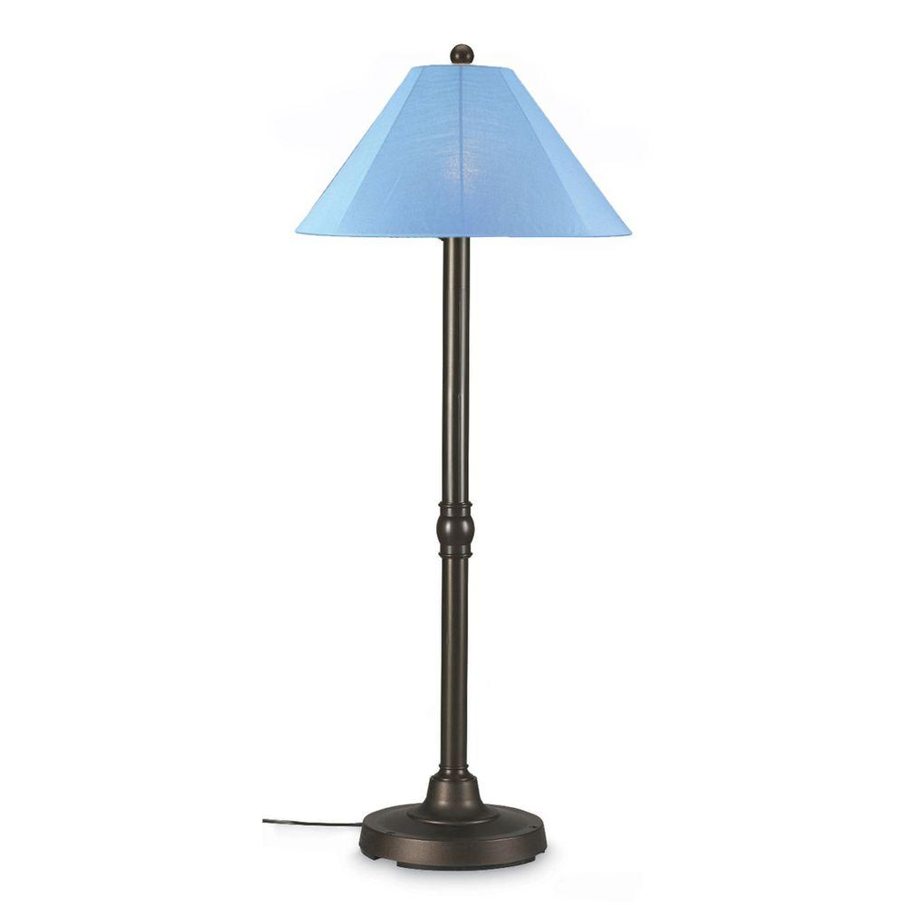 Patio Living Concepts San Juan 60 in. Outdoor Bronze Floor Lamp with Sky Blue Shade