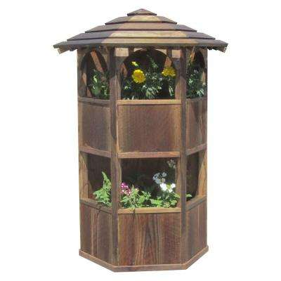 20 in. x 28 in. x 8 in. English Cottage Garden Style Wall Mount Double Wood Planter with Roof