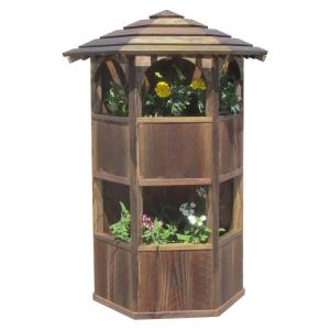 SamsGazebos 20 inch x 28 inch x 8 inch English Cottage Garden Style Wall Mount Double Wood Planter with Roof by SamsGazebos