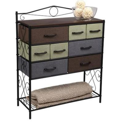 40.5 in. Brown, Green and Blue Metal 8- Drawer Storage Chest