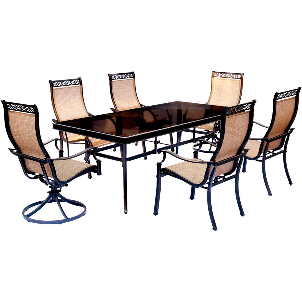 Attirant Hanover Monaco 7 Piece Aluminum Outdoor Dining Set With Rectangular  Glass Top Table And
