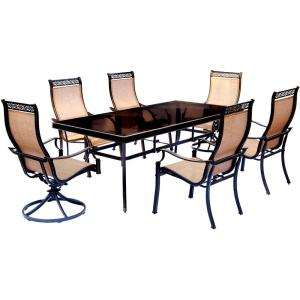 Hanover Monaco 7-Piece Aluminum Outdoor Dining Set with Rectangular Glass-Top Table and 2 Swivel Chairs by Hanover