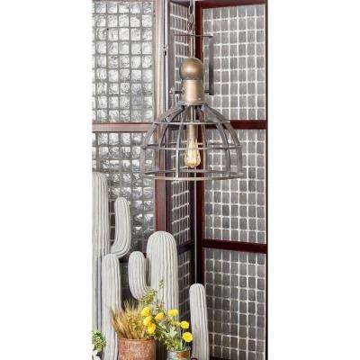 63 in. Rustic Brass Pendant Light with Bell-Shaped Cage-Inspired Lamp