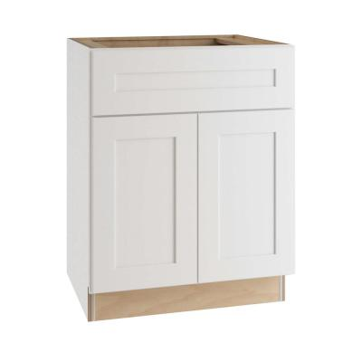 Newport Assembled 24x34.5x24 in. Plywood Shaker Base Kitchen Cabinet Soft Close Doors/Drawers in Painted Pacific White