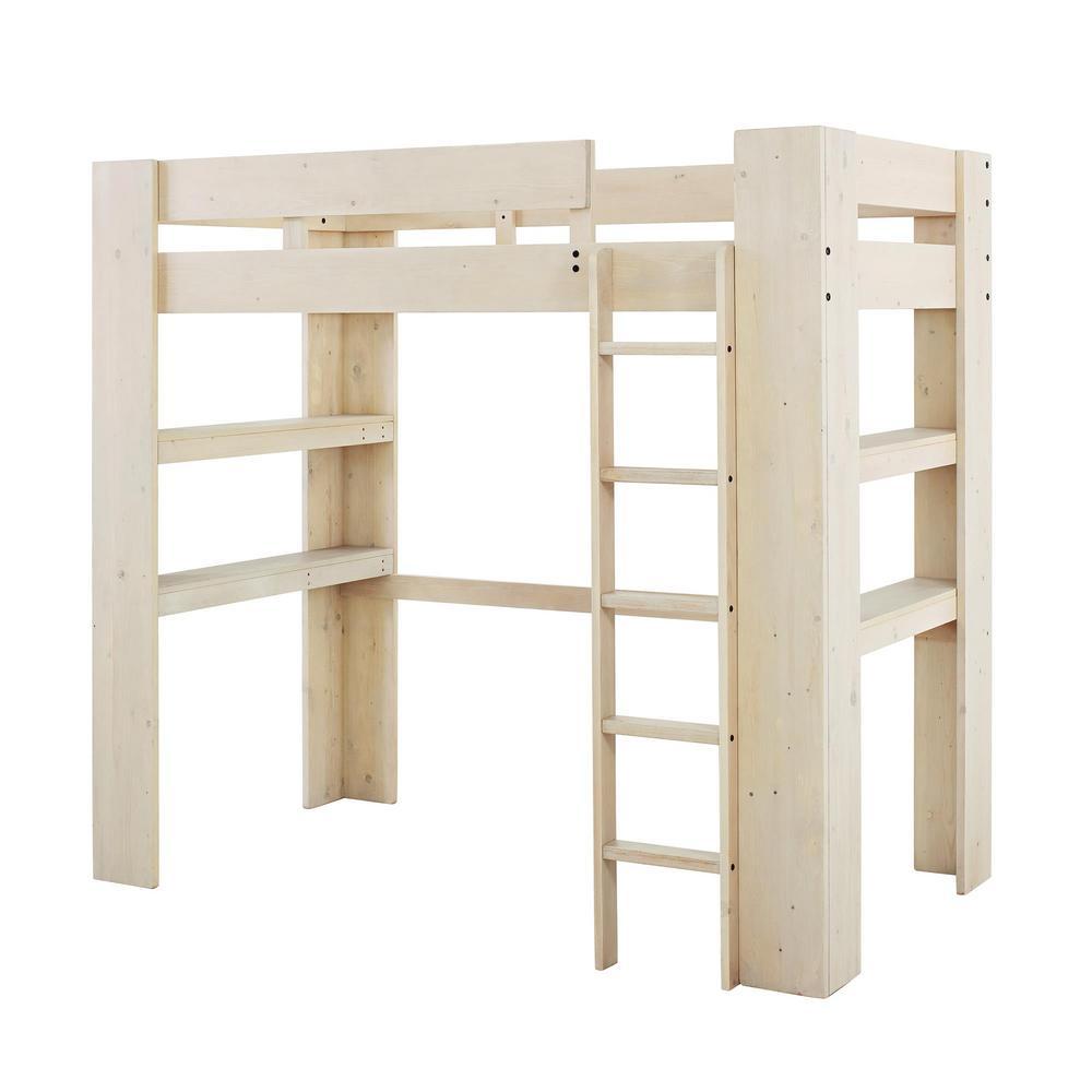 Dorel White Rustic Twin Loft Bed Rustic White Lisi