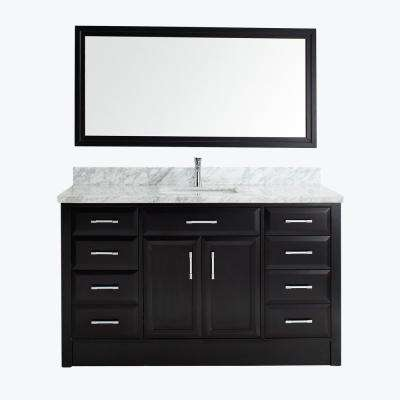 Calais 60 in. W x 22 in. D Vanity in Espresso with Marble Vanity Top in Gray with White Basin and Mirror
