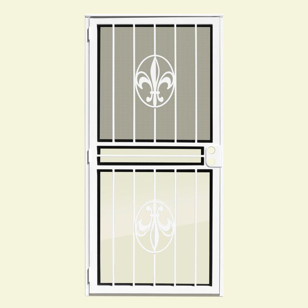 Unique Home Designs 32 in. x 80 in. Fleur de Lis White Recessed Mount All Season Security Door with Insect Screen and Glass Inserts