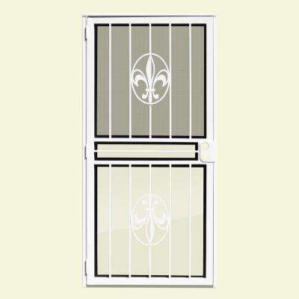 unique home designs security doors. Fleur de Lis Recessed Mount Outswing Security Door White  Unique Home Designs Doors Exterior