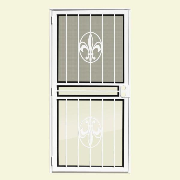 30 in. x 80 in. Fleur de Lis White Recessed Mount All Season Security Door with Insect Screen and Glass Inserts