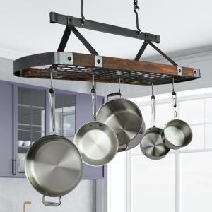 Signature 45 In Hammered Steel Oval Ceiling Pot Rack With Tigerwood 18 Hooks