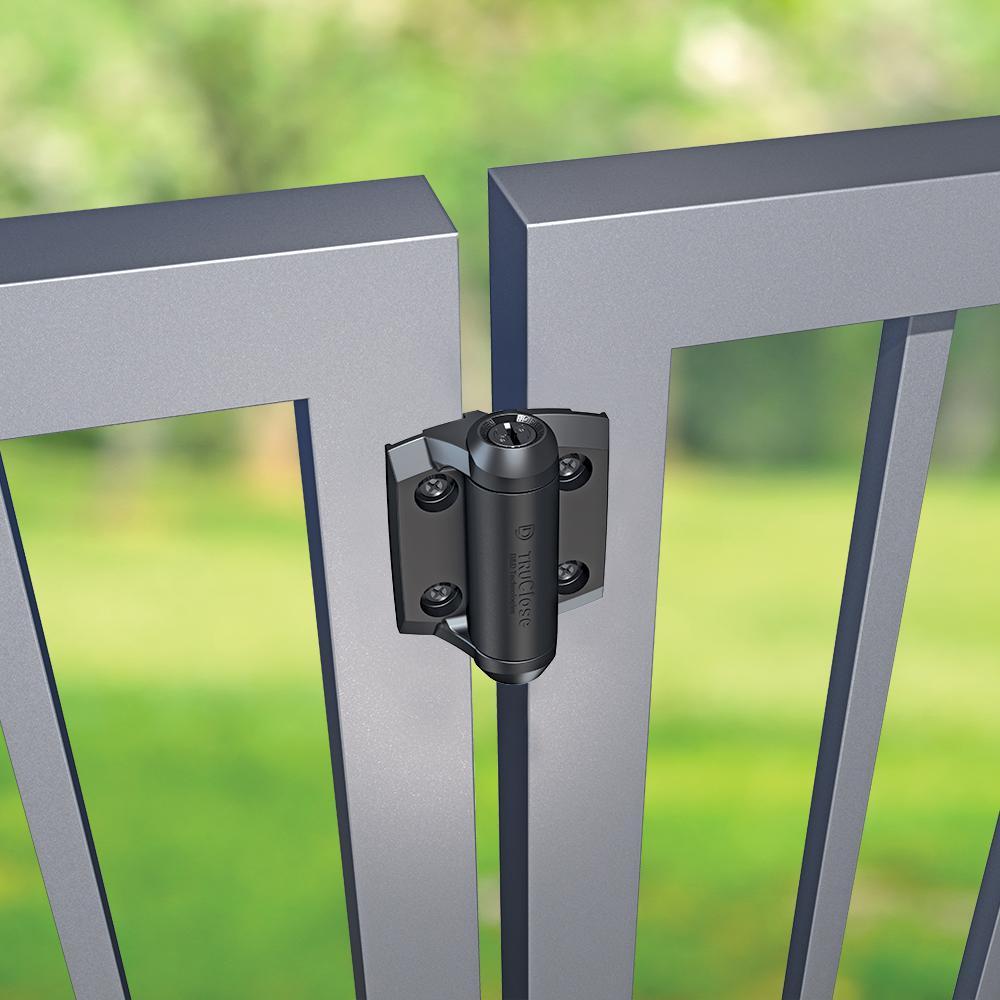 D&D 2-7/8 in. x 3-3/4 in. Black Self-Closing Metal Gate Hinge (2-Pack)